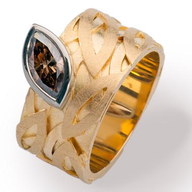 Ring, Gelbgold 18 Karat und Brillianten